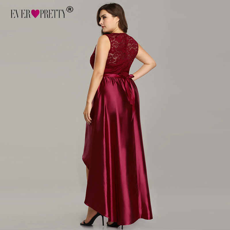 Plus Size Prom Dresses 2019 Ever Pretty Cheap Satin Burgundy Lace A-line  Special Occasion Gowns Elegant Wedding Guest Dresses