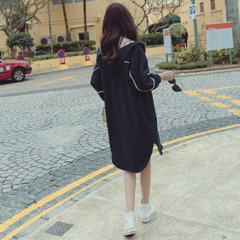 navy Automne Complet 2018 Couture À Femmes Tranchée Khaki Poitrine Haute Unique Solide Preppy Large Capuchon Style Taille long X YFYWxUvqwS