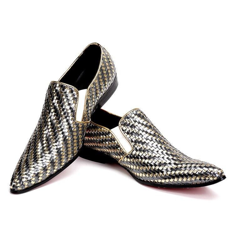 Nouveau Mariage Formelle Bureau Weave Chaussures De 2 Hommes Chantiers 1 Appartements Mâle Pour Travail Cuir Véritable En Luxe Or Couleur Robe Grands 1JlFKc