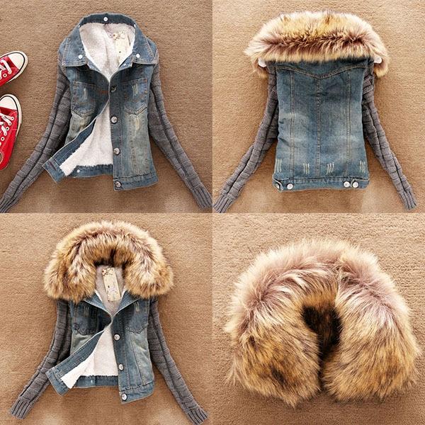 Winter Women <font><b>Jeans</b></font> Coat Fleece Short Denim Jacket Slim Fur Collar Outerwear Tops