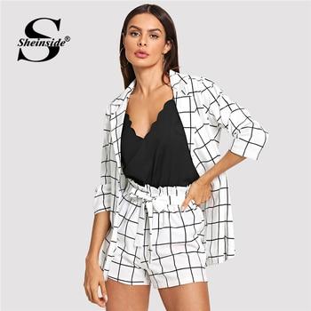 Sheinside noir et blanc Plaid crantés Blazers avec auto cravate taille Shorts femmes deux pièces ensembles 2019 élégant 2 pièces femmes ensemble
