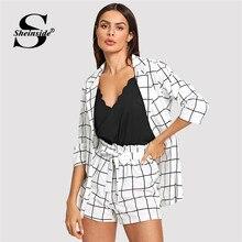 041e0faa0 Sheinside a cuadros blanco y negro con muescas chaquetas con corbata  cintura pantalones cortos mujeres conjuntos de dos piezas 2.