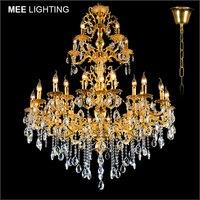 Роскошная большая Хрустальная люстра лампа Кристалл Блеск светильник 3 уровня 29 оружия люстра блеск для Гостиная отель лампы