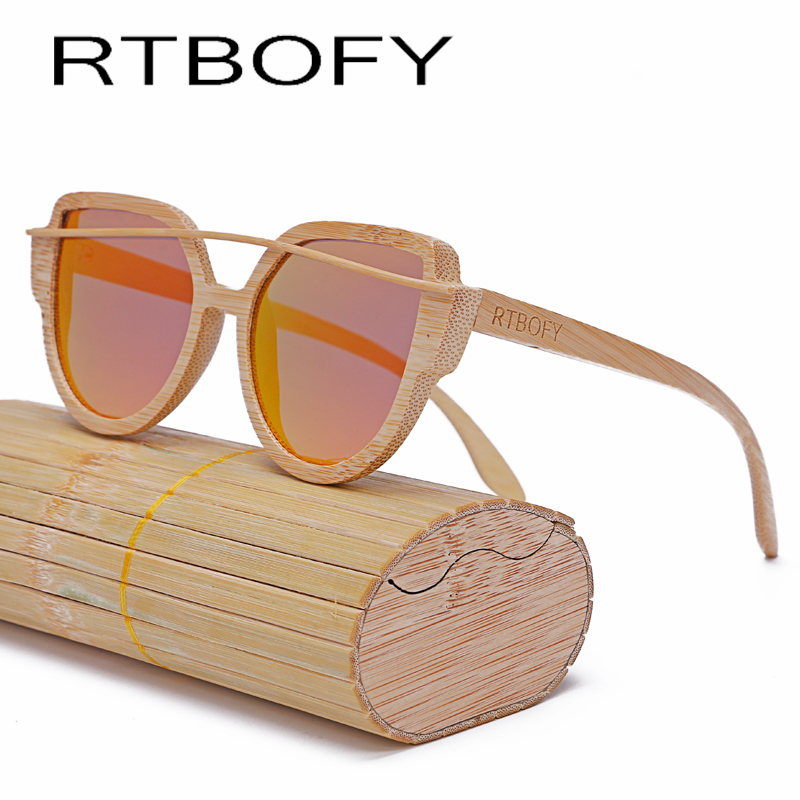 RTBOFY Wood Sunglasses Women 2017 Brand Designer Fashionable Sun Glasses Cat eye Sunglasses Handmade Polarized UV400