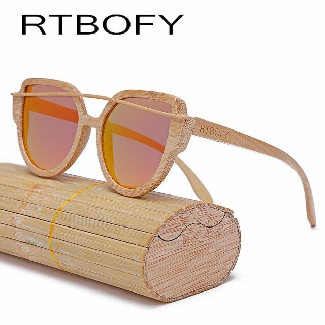 16707e7fb3 RTBOFY Wood Sunglasses Women 2017 Brand Designer Fashionable Sun Glasses  Cat eye Sunglasses Handmade Polarized UV400 Eyewear