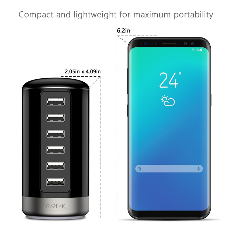 Multi Port Charger 6 USB 6A Power 30W Quick Charge Station For iPhone 7 5 5S 6 6S Plus iPad LG Samsung Huawei Nexus AC Adapter