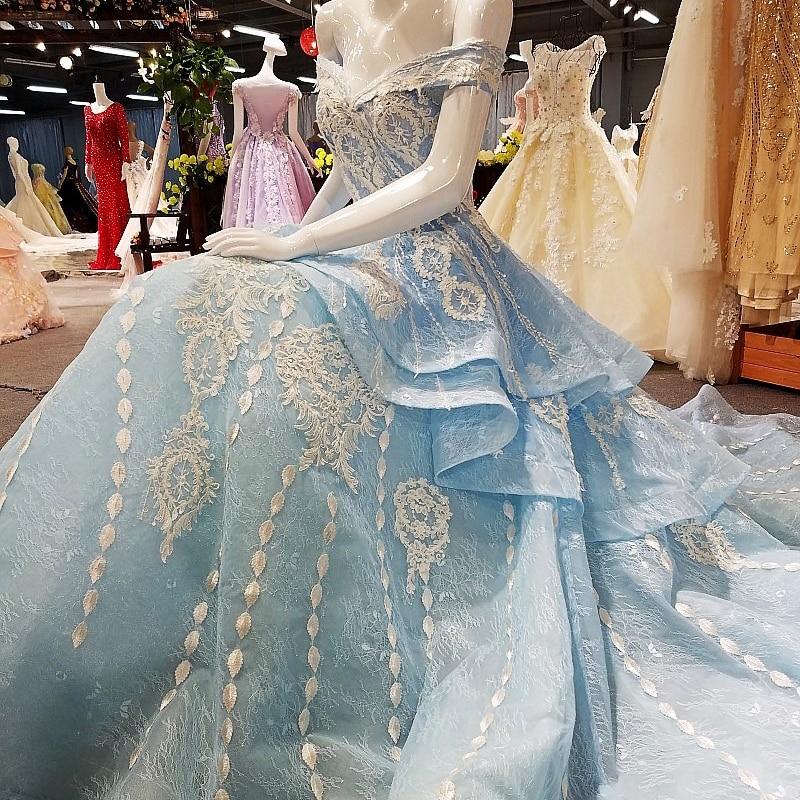 100% Echt Fotos Vestidos De Festa Longo Spitze Kleider Blau Lace Up Zurück Abendkleider Robe De Soire 2018 Abendkleider
