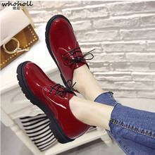 WHOHOLL Women Shoes New Arrival Spring Lace-up Casual Flat Shiny Genuine Leather Flats Shoes Woman Party Female Shoes Tenis stylesowner korean style new arrival flat single shoes cow leather lace up shallow pink solid color casual sweet female shoes