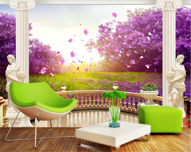 Beibehang Beautiful Fashion Wallpaper Outdoor Garden Cherry Blossoms TV Backdrop Painting Papel De Parede 3d
