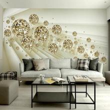 Пользовательские фотообои 3D стерео абстрактное пространство золотой шар современная мода интерьерный фон настенная декоративная живопись