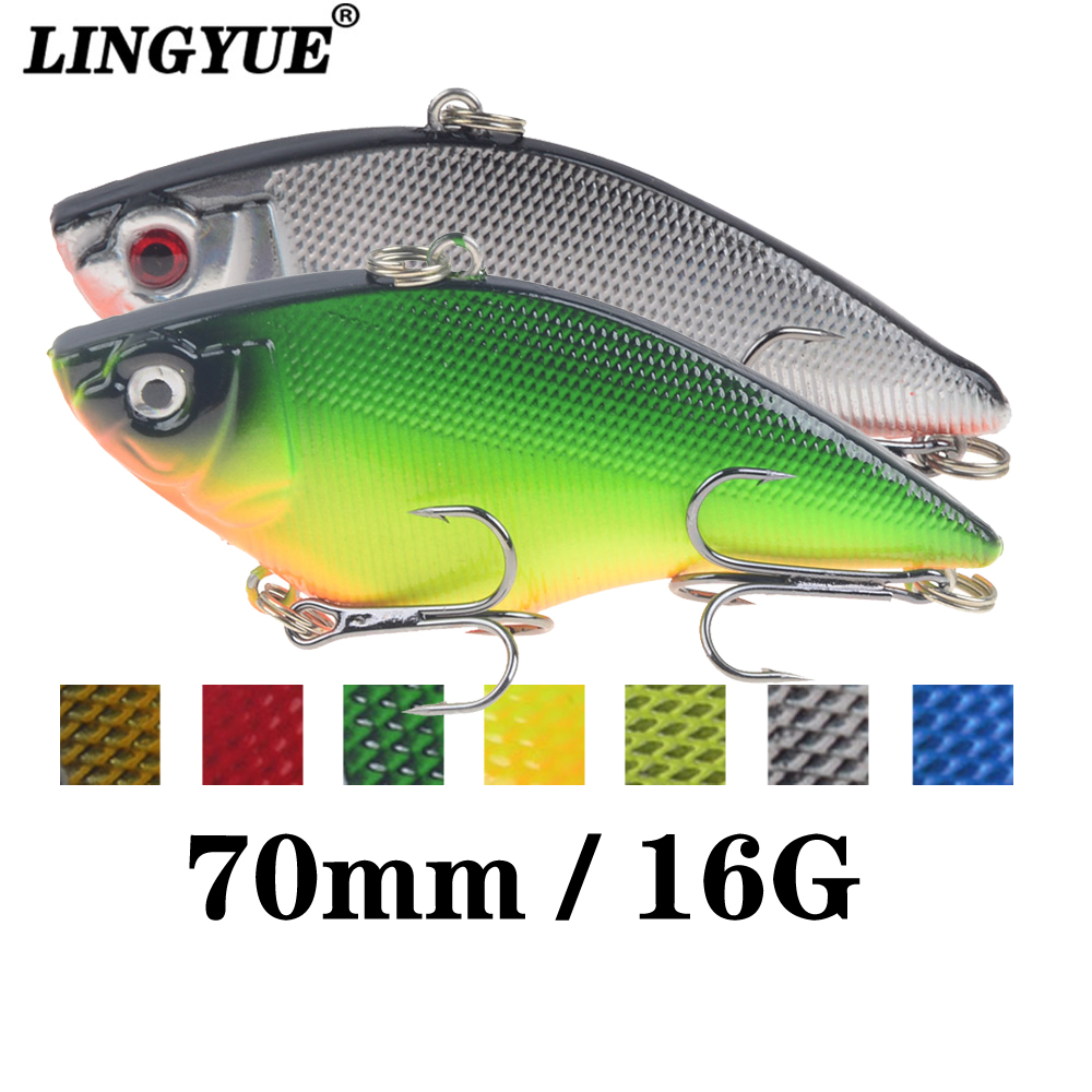 LINGYUE 1PCS VIB Hard Bait Fishing Lure 7cm 16g Sinking Long Shot Rattling Crankabit Wobbler Isca Artificial Pesca For Bass Pike