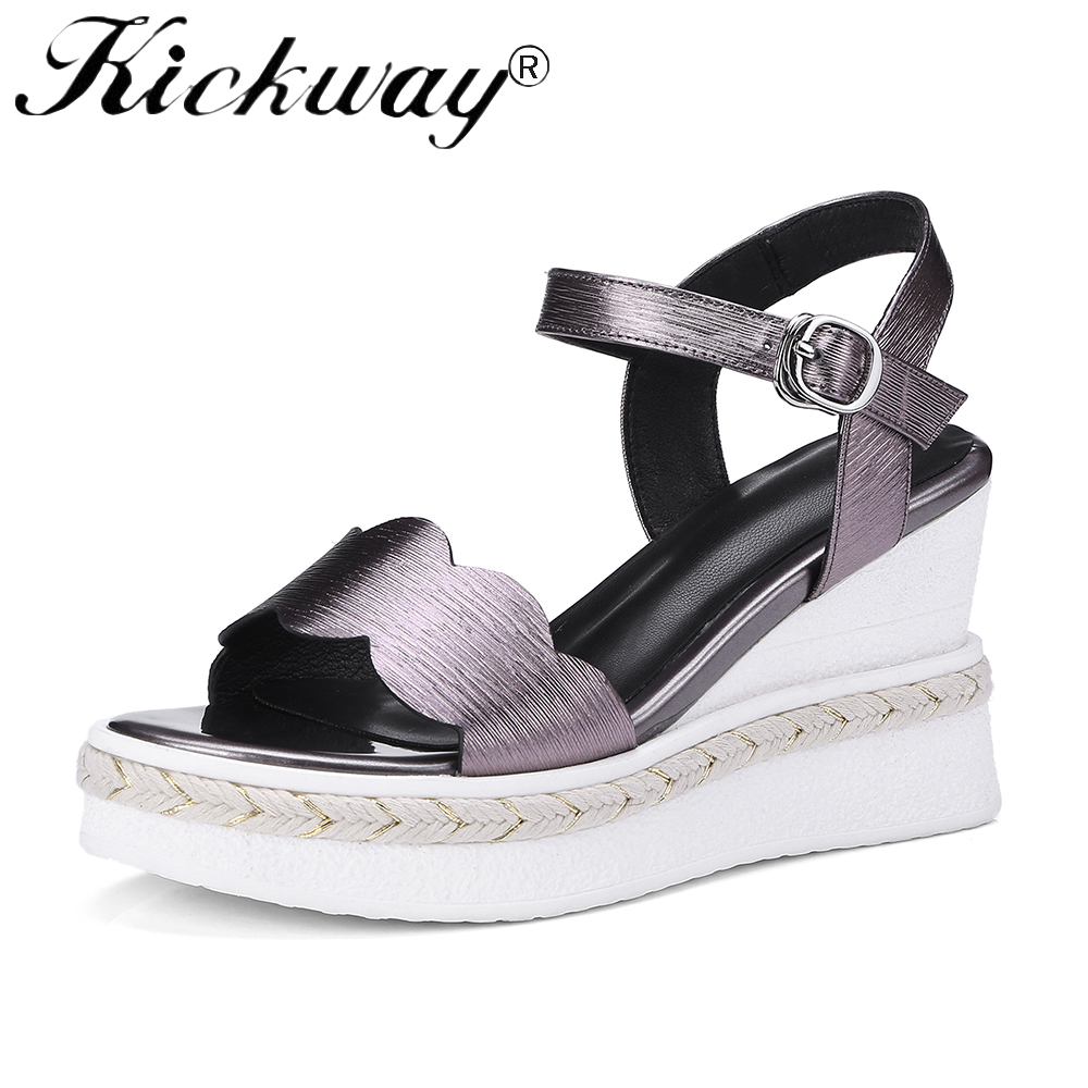 21ea9b955d5 Kickway Women Sandals Casual Cow leather Wedge Sandals Summer Ankle Strap  Wedge High Heel Platform Pump Shoes Large Size 34 42-in High Heels from  Shoes on ...