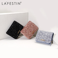 LAFESTIN Women Wallet Luxury Glitter Sequin Wallet Purses High Capacity Card Holder Coin Purse Short Wallet cartera mujer