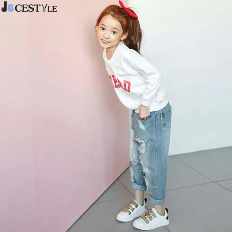 Fashion Boys & Girls Ripped Jeans Spring Summer Style Children Broken Hole Pants Denim Trousers For Kids Children Denim Trousers wholesale 2016 new unique fashion runway hiphop hole wornout ripped girl pants jean destroy womens slim denim jeans trousers