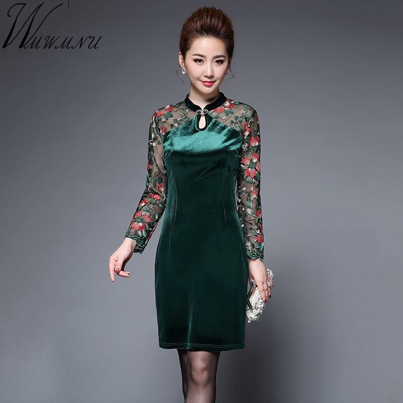 Wmwmnu femmes rétro broderie dentelle velours Patchwork robe porter à robes de soirée incrusté bouton de forage femme chine vent robe