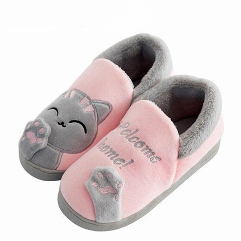 Women Slippers Home Winter Warm Cartoon Cat Shoes Fur Warm Comfortable Shoes At Home Women Shoes Slippers Platform Slides Genuin leisure platform and cartoon pattern design slippers for women