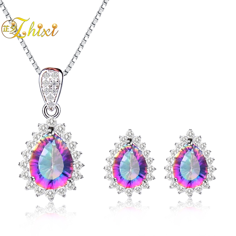 ZHIXI Natural Gem Crystal Jewelry Set Necklace Pendant Earrings 925 Silver Charming Shining Gift For Women Girl T239DE t art блузка