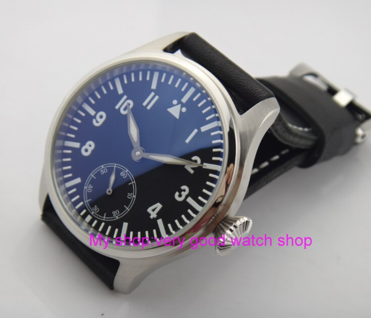 47mm parnis big black dial Asian 6498 17 jewels Mechanical Hand Wind movement men watches  blue Luminous Mechanical watches xj10