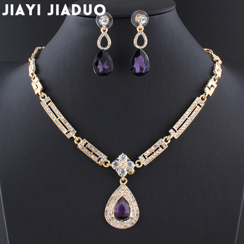 Conjuntos de joyería para vestido de boda Jiayijiaduo, conjunto de pendientes y collar de cristal con abalorio púrpura de cristal, joyería femenina para mujer, Dubai
