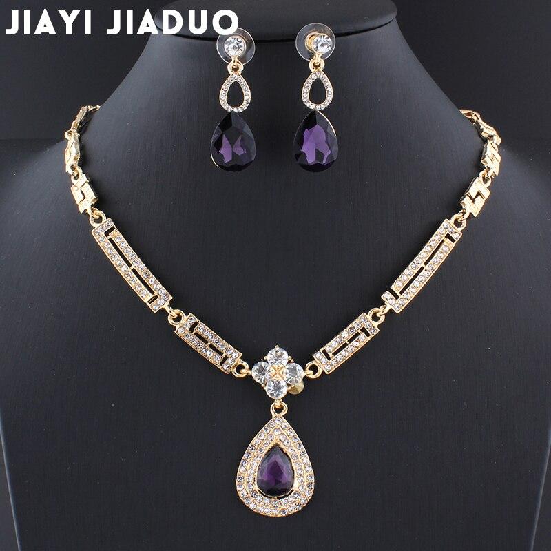 Jiayijiaduo Hochzeit Kleid Schmuck Sets Glas Lila Charme Kristall Halskette Ohrringe Sets Für Frauen Parure Bijoux Femme Dubai Senility VerzöGern Hochzeits- & Verlobungs-schmuck Brautschmuck Sets