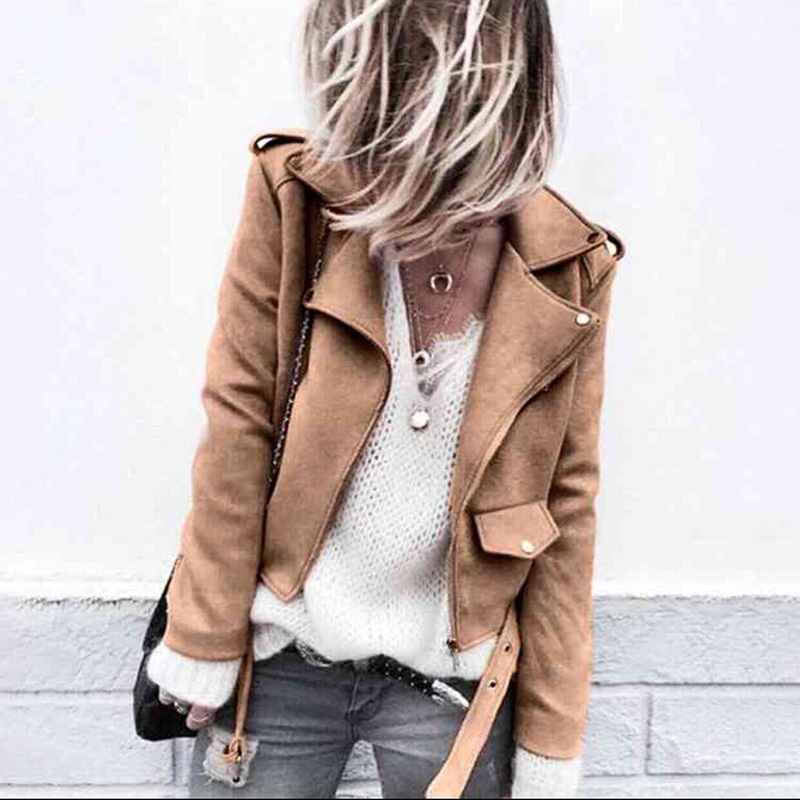 New 2019 Harjuku Short Suede Fabric   Jacket   Women Autumn Hot Sale Fashion Zipper PU Leather   Jacket   Ladies   Basic   Coat
