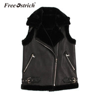 Free Ostrich Fur Vest 2018 PU Leather Women jacket Turn Down Collar Pockets Waistcoat Top Motorcycle Style S25