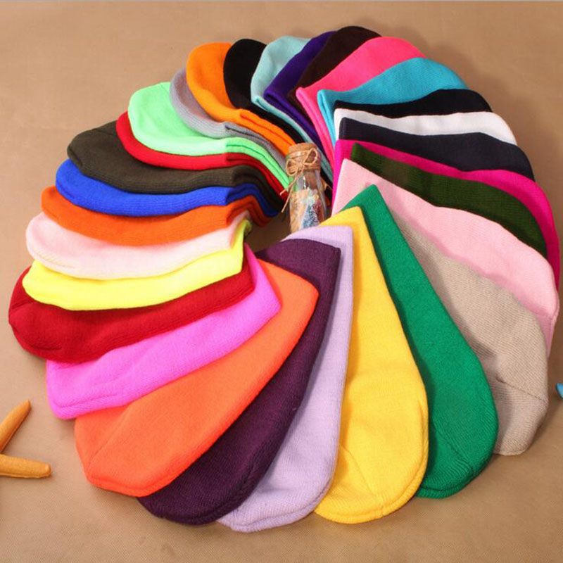 2016 New Fashion Causal Men's Women Solid color Knitted hat Hip-Hop cap Color Winter Warm Unisex Wool Skullies & Beanies Hat