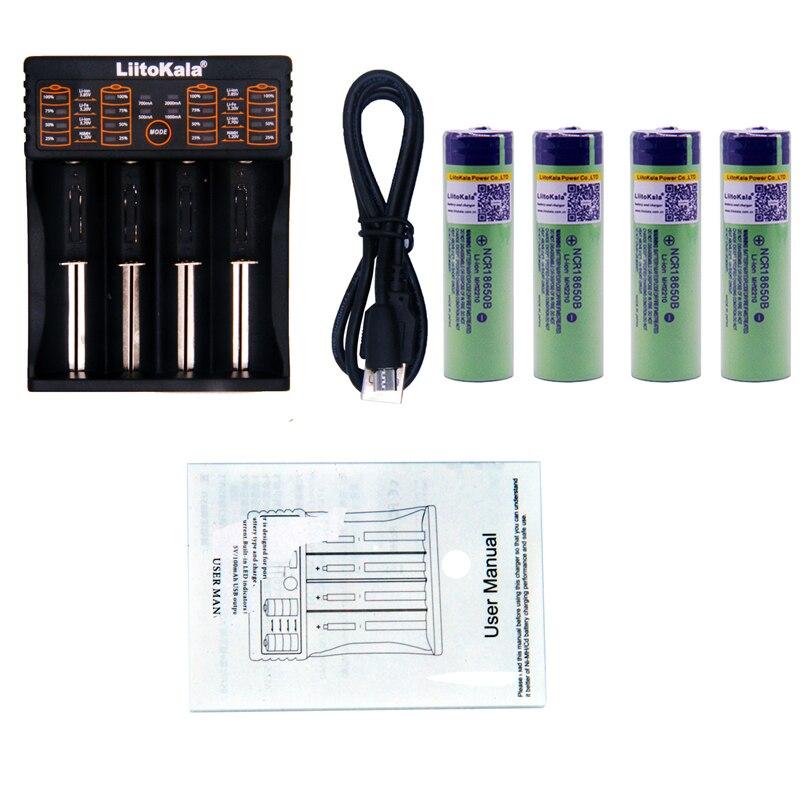 4 unids liitokala 3.7 V 3400 mAh 18650 li-ion recargable (sin PCB) + Lii-402 USB 26650 18650 AA AAA cargador inteligente