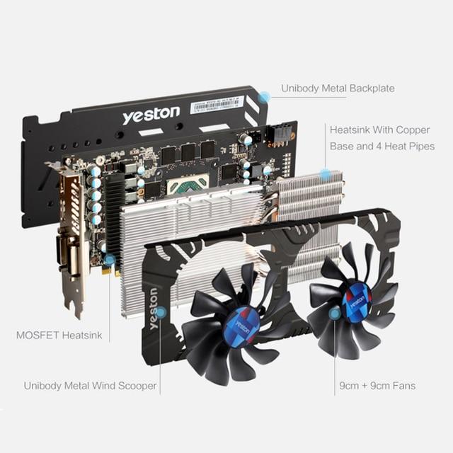 Yeston Radeon RX 580 GPU 8GB GDDR5 256bit Gaming Desktop computer PC Video Graphics Cards support DVI/HDMI PCI-E X16 3.0 4
