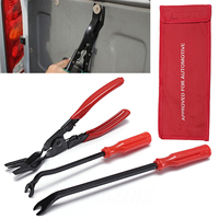 3pcs Auto Car Door Trim Rivets Clips Pliers Steel Clamp 240mm Screwdriver Fastener Remover Puller Tool