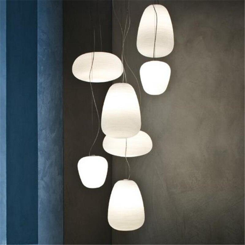 Vis créative nordique postmoderne filetée lustres en verre blanc Restaurants chambre blanc livraison gratuite - 3