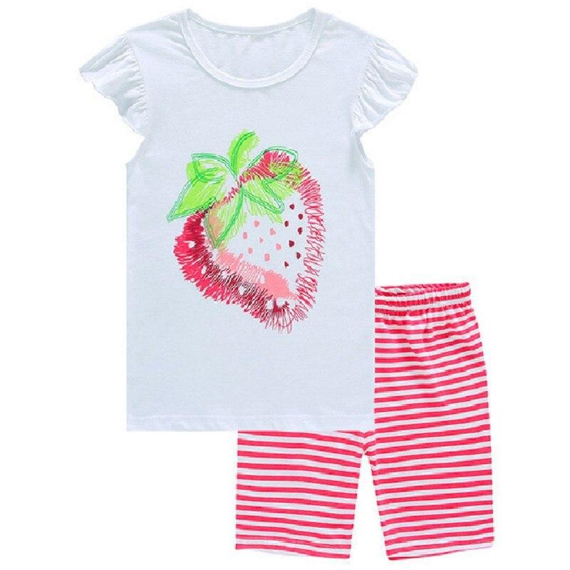Fraise bébé filles été Pijama ensembles rose vêtement de nuit pour enfants 100% coton 2017 nouvelle mode enfants pyjamas costume T-Shirt pantalon