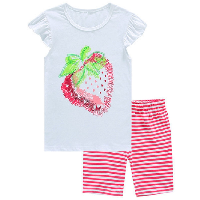 Erdbeere Baby Mädchen Sommer Pijama Sets Rosa Kinder Nachtwäsche 100% Baumwolle 2017 Neueste Mode Kinder Schlafanzug Anzug T-shirt Hosen