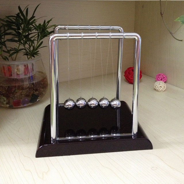 Newtons Cradle Steel Balance Ball Desk Table Decor Metal Pendulum Ball Kids Physics Science Accessory Desk Toy Antistress Game 3