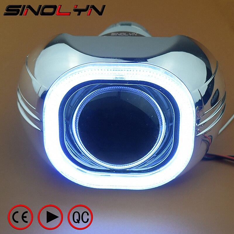 SINOLYN Métal 3.0 ''H4 Q5 D2S Bi xénon Lentilles HID Objectif Du Projecteur Phare Kit Carré COB LED Angel Eyes halo Blanc Voiture de coiffure