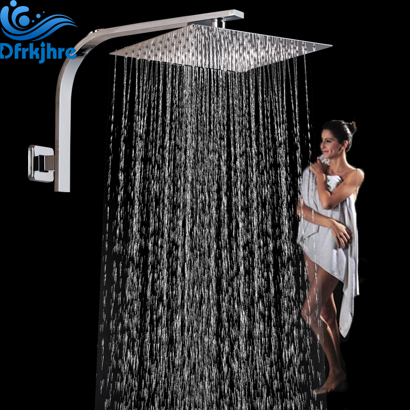 Wall Mount Shower Arm with Shower Head Chrome Brass Showerhead Bracket Shower Pipe Rainfall Stainless Steel Shower Head free shipping wall mount 10 inch stainless steel rain shower head brass shower arm chrome finish