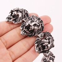 High Quality 316L Stainless Steel Silver Black Punk Casting Lion Head Cool Jewelry Men's Male Bracelet Bangle 8.86 Father Gift
