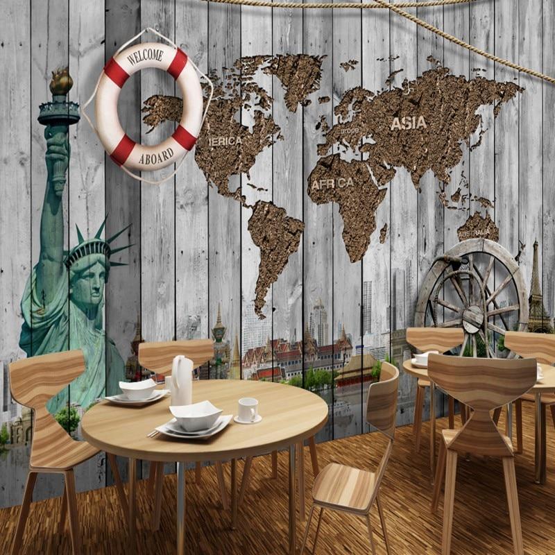 Custom mural Retro Nostalgic World Map Statue of Liberty Background Wallpaper Restaurant Bar Wallpaper custom