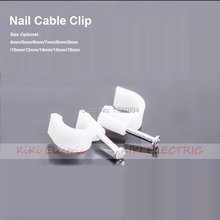 5mm Steel Nail Circle Clip for Fix Telephoneline White Plastic Path cable clips Wall Insert Cord Clamp 100pcs/lot