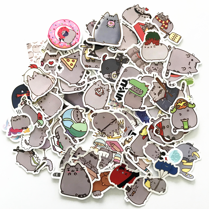 TD ZW 100Pcs/lot Cartoon Cat Stickers For Snowboard Laptop Luggage Car Fridge Car- Styling Vinyl Decal Home Decor Stickers totoro fridge stickers fridge magnite magnetic stickers car style home decor cell decor cartoon animal action figure toys