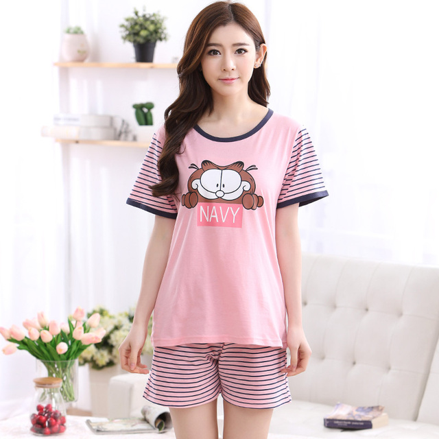 962857c34b Hot Selling Summer Cute Pajamas Sets Cartoon Garfield printed Cotton Women  Pajamas Short Sleeve Loungewear Pyjama femme Clothing