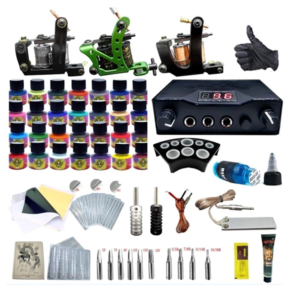 Tattoo Kit 3 Tattoo Machine Gun Blue Ink Power Supply Grips Pro Tattoo Body Art Complete Kits Machine Ink Tattoo Needle set