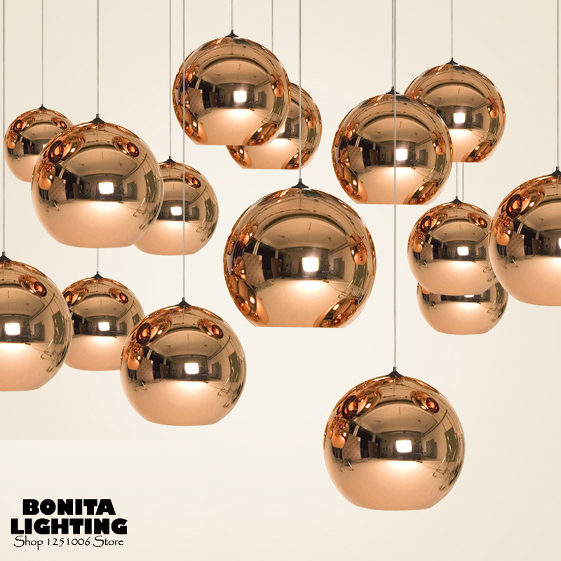 Round Ball hanging lamp glass Plating space ball cord pendant lighting Tom Dixon led pendant lights Golden/Copper/Silver