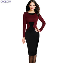 COCKCON/женские Платья для женщин Новое поступление элегантное платье длинный рукав Платья для женщин Мода ребристые футляр