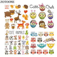 ZOTOONE Cute Animal Patches Set Iron-on Transfers For Kids Clothes DIY Thermal Press Cartoon Owl Patch Heat Transfer Stickers E