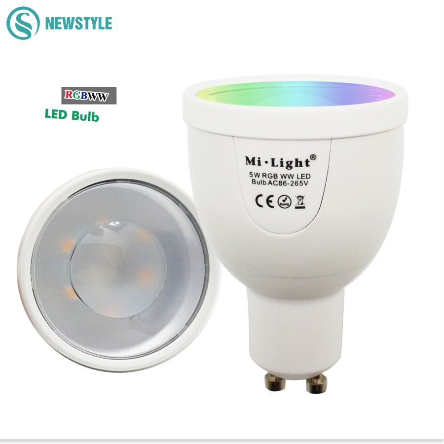 2016 New Arrival 5W GU10 Dimmable 2.4G Wireless Milight Led Bulb RGBW RGBWW Led Spotlight Smart Led Lamp Lighting AC86-265V платье apart apart ap002ewjiu62