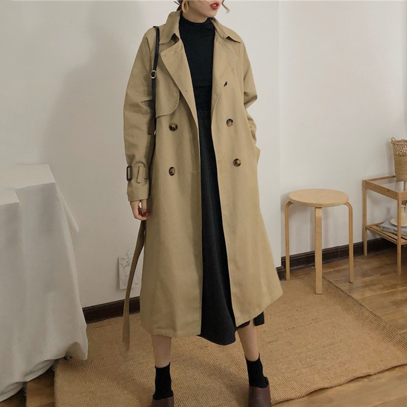 Spring And Autumn Women Fashion Brand Korea Style Waist Belt Loose Khaki Color Trench Female Casual Elegant Soft Long Coat Cloth