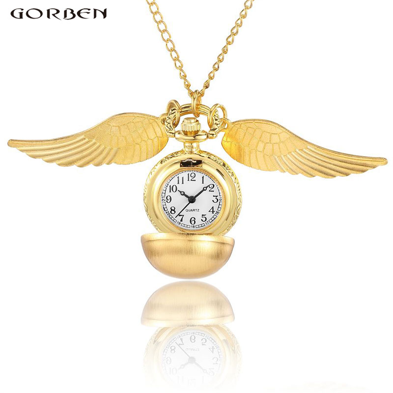 Luxury Gold Ball Wings Quartz Pocket Watch Golden Snitch Harry Potter Cosplay Gift Watch Necklace Chain Unisex Reloj de bolsillo free drop shipping elegant golden snitch quartz fob pocket watch with sweater necklace chain