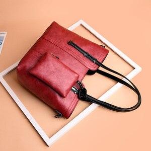 Image 5 - 2019 Retro Hoge Kwaliteit Vrouwen Portemonnees En Handtassen Grote Capaciteit Tote Bag 2 Sets Lederen Schoudertassen Crossbody Tassen Voor vrouwen