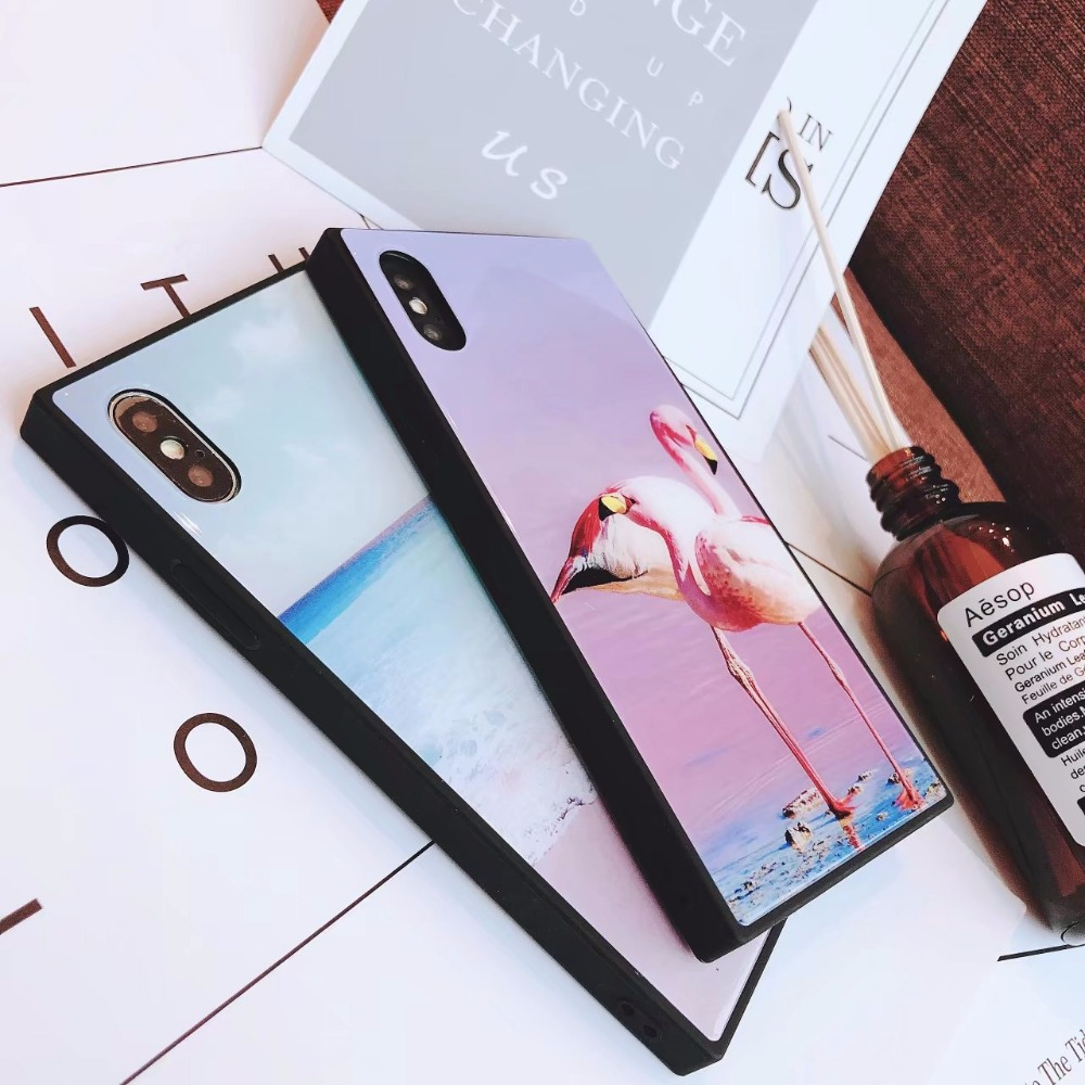 559-Case For iphone7 X 6 Square Explosion-proof Glass Case iPhoneX Mobile Phone Case 7plus8p All-inclusive Silicone Soft Cases      (6)